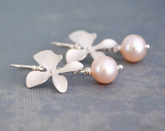 Silver Orchid Flower Earrings, Pink Freshwater Pearl,  Sterling Silver Hoops, June Birthstone, Wedding Jewelry, Gift Under 25