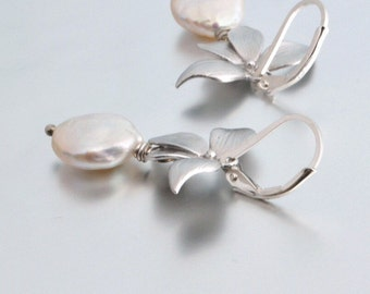 Wild Orchid Silver Earrings, White Coin Pearls, Sterling Silver Lever Back Earrings, June Birthstone