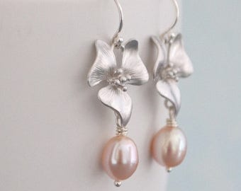 Cherry Blossom Earrings, Oval Shaped Pink Freshwater Pearls, Silver Hoops, June Birthstone, Gift for Under 30