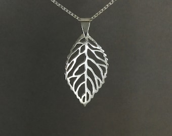 Mother's day gift, sterling silver filigree leaf necklace, 925 silver nature minimalist, everyday jewelry, gift for mom cable chain N158C