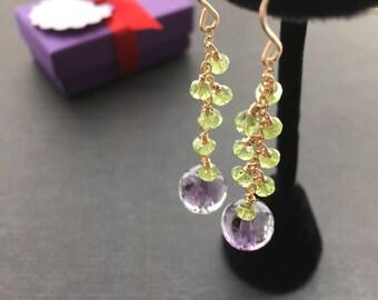 Peridot Earrings, Amethyst Earrings, Green Drop Earrings, Gold Green Earrings, Peridot Green Jewelry, Amethyst Jewelry, Dangle Earrings