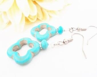 Turquoise Jewelry, Beaded Earrings, Aqua Earrings, Everyday Earrings, Simple Boho Drop Earrings, Indie Earrings, Yoga Jewelry, Gift for Mom