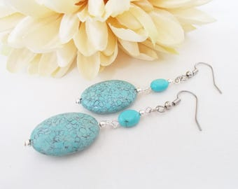 Gift for Mom, Turquoise Jewelry, Turquoise Earrings, Hippie Stone Beaded Earrings, Boho Jewelry, Bohemian Earrings, Best Selling Items