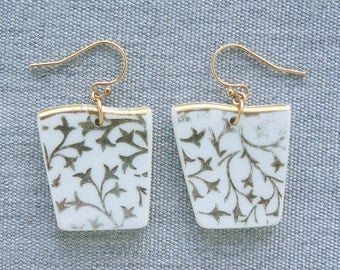 Shimmering Vines Earrings Broken Recycled China Jewelry Material and Movement
