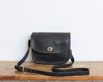 Vintage Coach Bag NYC // Leather Crossbody // Mini Messenger Gray Black Bag Purse
