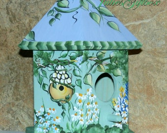 Charming Hand Painted Bird House - Indoor Decorative Painted Birdhouse - Light Weight - Ready To Ship