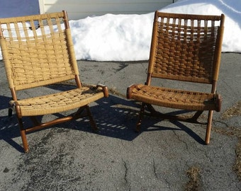 Hans Wegner Style Woven Rope Chairs Mid-Century Danish Modern Folding Loungers