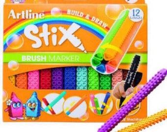 Artline Stix brush Markers 12 Assorted Color Set