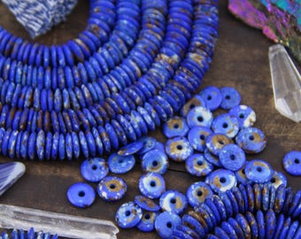 Blueberries & Cream : Blue Speckled Brown/Cream Rondelle, Thin Disc Bone Washer Beads, 10x2.5mm, Jewelry Making Supply, Slim Spacers, 75+ pc