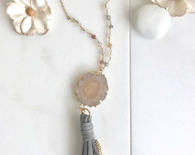 Boho Tassel Necklace. Grey and Moonstone Tassel Necklace. Long Peach Slice Tassel Necklace. Boho Jewelry. Unique Gift Idea.