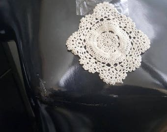 "Set of 2 Natural Crochet Round Doilies Small 4 1/2"" each"