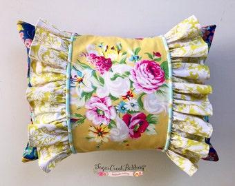 Lindsay Floral, Side Ruffles Boudoir Pillow, 12 x 16