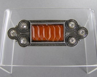 Art Deco Revival Brooch, Sterling Silver, Carnelian Glass, 80's, Gift for Her, Vintage Jewelry