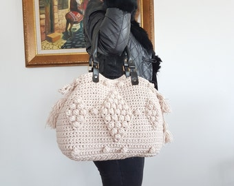 Beige Handbag Leather Tote Bag Shoulder Bag  Women Bag Leather Tote Fashion Women Accessory Handmade Bag Crochet Bag