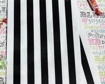Black and White Stripe Wedding Favor Bags, Black and White Stripe Candy Bags,  Cookie Bags, Popcorn Bags, Graduation Favor Bags - 50 count