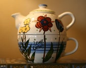 """Lewis Carroll """"Six impossible things before breakfast"""" - Single-serve teapot and mug set - Hand painted with flowers - Alice in Wonderland"""