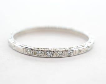 Art Deco 18K White Gold Five Stone Hand Engraved Vintage Diamond Ring- Size 7.25
