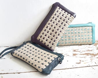 Mini Purse with Handweave - Detachable Crossbody Strap - Multi-Pocket Organiser - Clutch.
