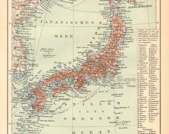 1895 Original Antique Map of Japan