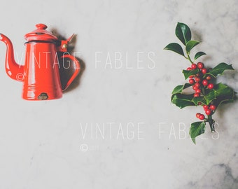 Styled Desktop, Vintage Christmas Stock Photo, Christmas Mockup, Social Media Photo, Instagram Photo, Styled Stock Photography