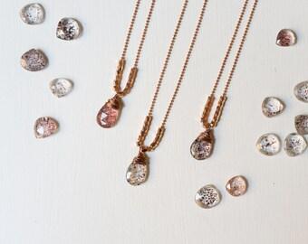 Lepidocrocite Necklace, Layering Necklace, Gemstone Pendant, Quartz, Boho Necklace, Rose Gold, Copper Ball Chain, 32 Inch Chain