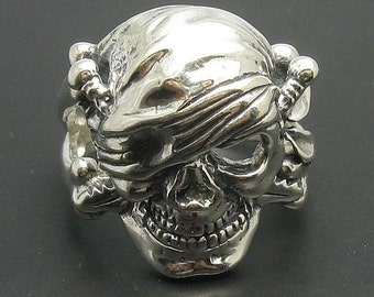 Sterling silver solid 925 pirate skull ring biker pendant
