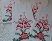Vintage Christmas Napkins set of 4 BELLS embroidered retro holiday decor entertaining party