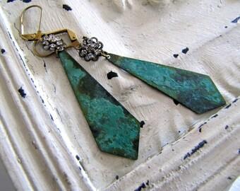 Assemblage Earrings Vintage Swarovski Rhinestone Earrings Patina Earrings Verdigris Earrings Rustic Jewelry Boho Jewelry Vintage Earrings