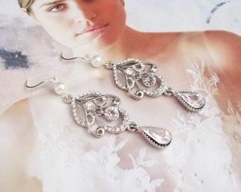 chandelier earrings, bridal earrings, wedding earrings, pearl earrings, wedding jewelry  statement earrings, long bridal earrings