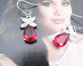 Ruby Red cubic zirconia bridal, wedding gift, bridesmaid, bridesmaid earrings, bridal earrings, bridal jewelry, bridesmaid jewelry