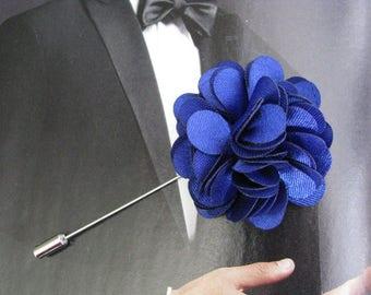 Royal Blue lapel pin, mens boutonniere, grooms boutonniere, groomsmen, wedding lapel pin, mens lapel pin, lapel flower pin, corsage