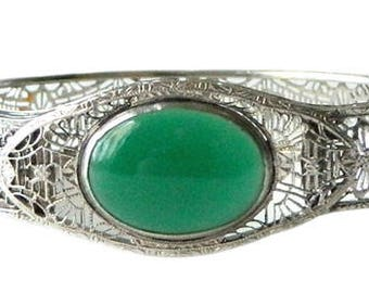 Vintage 1920s Art Deco Silver Filigree Bracelet with Chrysoprase Stone