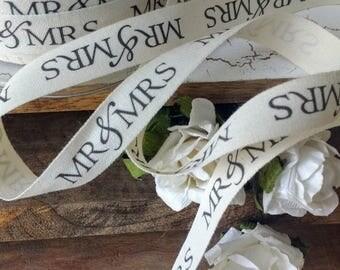 Mr and Mrs Ribbon, Script Ribbon,  Print Ribbon Ribbon , Ribbon. Ivory and Black . Gift Wrap Packaging, Wedding Favors