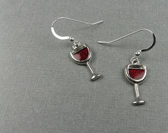 Red Wine Earrings with Sterling Silver Ear Wires - Gift for Book Club, Wine Country Travel, or Girls Night Out