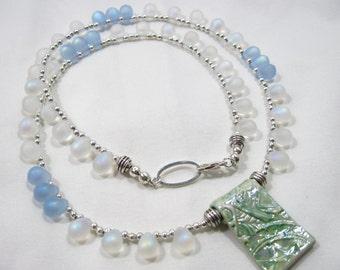 Iridescent Frosted Czech Glass Teardrop & Artisan Made Ceramic Pendant Necklace