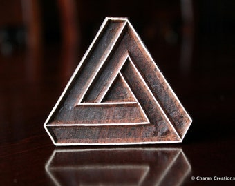 Hand Carved stamp, Indian Wood Block Stamp, Tjaps, Pottery stamp, Textile Stamp- Penrose Triangle