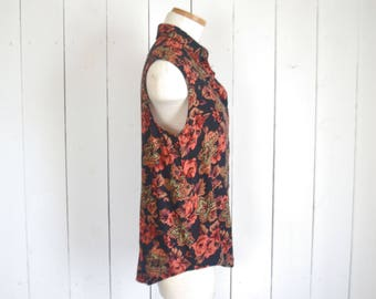 Floral Sleeveless Blouse - Early 90s Black Red Top - Vintage Womens Button Up - Medium M