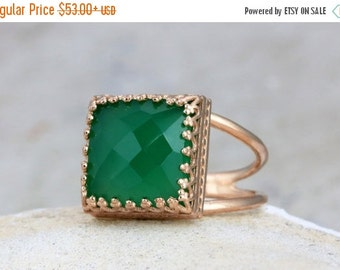 SUMMER SALE - Green Onyx ring,rose gold ring,green emerald ring,gemstone ring,stone ring,square ring,faceted ring