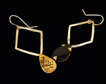 Asymmetric Statement Dangle Earrings, Women Boho Earrings, Onyx Silver & Golden Brass Earrings, Drop Teardrop Earrings, Cocktail OOAK Unique