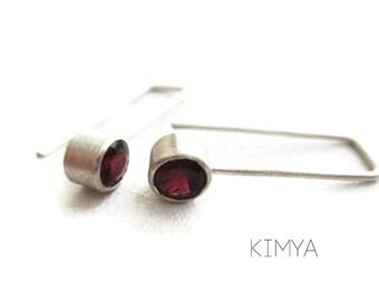 Garnet Silver Earrings - Gemstone Dangle Earrings - Minimalist Modern Red Gemstone Earring - Matte Silver Earrings - Contemporary Jewelry