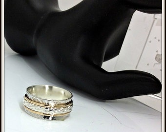 Meditation 3 spinners ring Artisan designer sterling silver Yellow gold filled 14/20 man and woman Your size