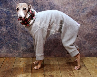 Made to order Italian Greyhound Pale Grey Jammies with Tartan Print jersey lined Snood/Neck Warmer - see item details