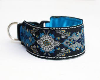 Arabian Nights Collection - Black Turquoise and Silver Jacquard Martingale or Wide Clip Italian Greyhound Collar - scroll down for details