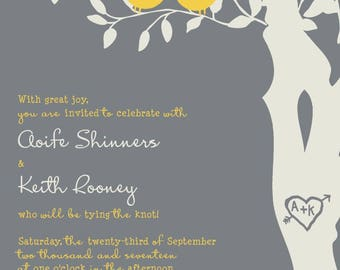 Custom Love Birds Wedding Invitations, Yellow and Gray Wedding Invitation, Birds in a Tree, Custom Listing for aoifekeith