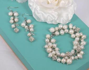 Florence - Vintage style Rhinestone Bracelet and Earrings set