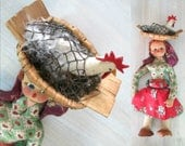 RESERVED FOR KARLA Chicken in Basket Primitive Rag Doll Vintage Antique Ethnic Collectible