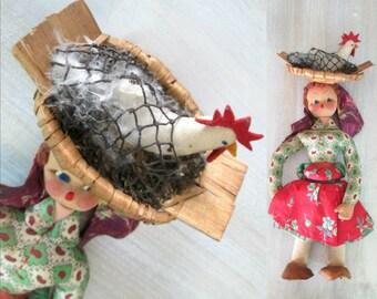 RESERVED FOR KARLA Chicken in Basket Primitive Rag Doll Vintage Antique Ethnic Collectible