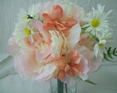 """Custom Order for """"Jordan"""" Silk Flower Package Pink Peonies, Peachy Delphinums , and Daises 10 Piece Made To Order"""