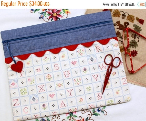SALE Stitch Alphabet Cross Stitch, Sewing, Embroidery Project Bag