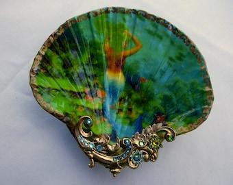 Jewelry Dish, Mermaid Dish, Siren Of The Sea Beautiful Mermaid Large Shell Jewelry Dish
